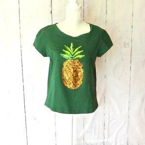 NWT Haoduoyi Glitter Pineapple T-Shirt XXL green